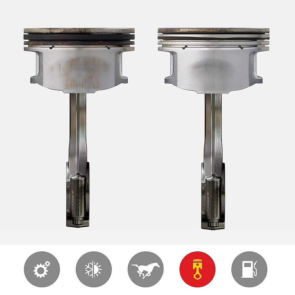 An image of a dirty piston next to a clean piston to demonstrate the superior piston cleanliness product benefit of Shell Helix Ultra