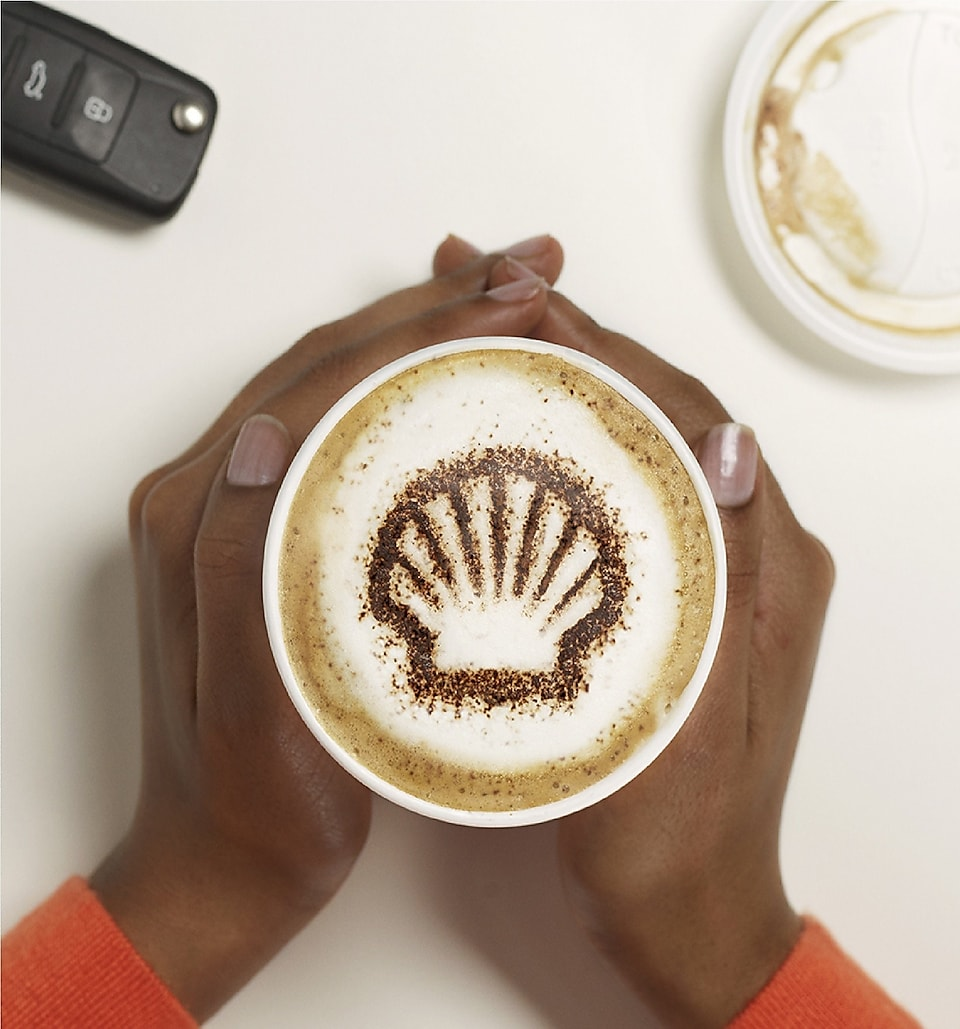 shell logo on coffee