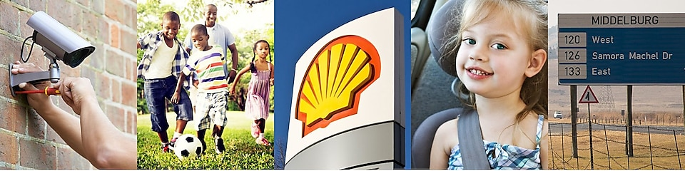 Collage of images: Camera, children playing football, Shell logo, Girl smiling, road indicator