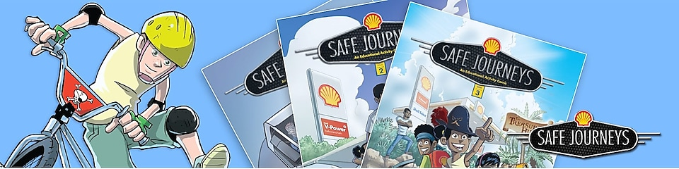 Two comic book covers of parent walking across the road with children near a Shell service station